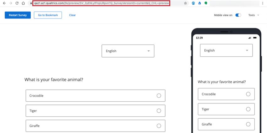 The survey preview URL