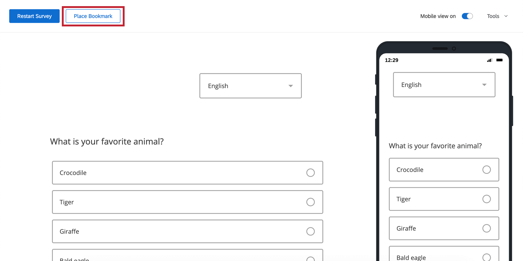 On upper-left, the Place bookmark button