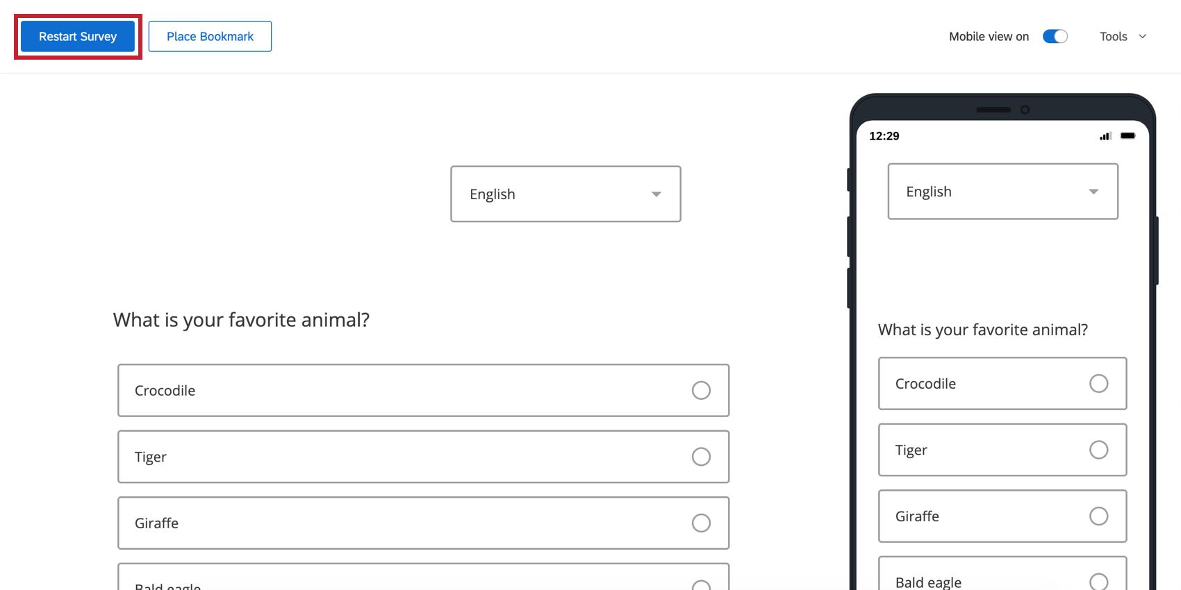 Blue Restart Survey button on upper-left