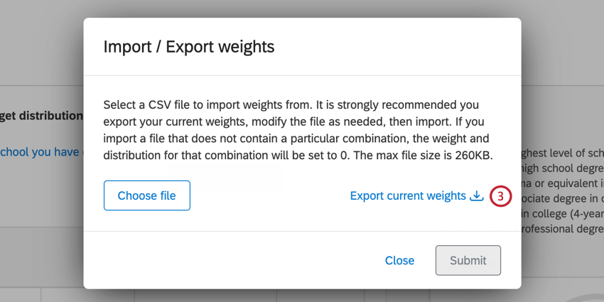 the export current weights button in the import / export weights screen