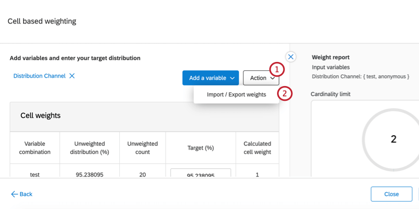 the action dropdown for an interlocked weight. import / export weights is selected