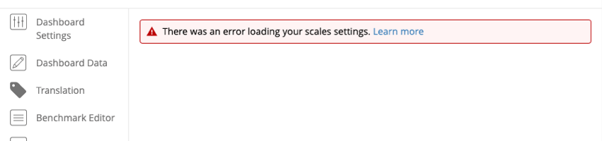 the scales tab with the error