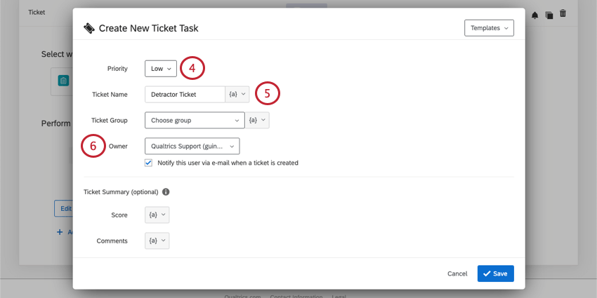 Priority, Ticket Name, Ticket Group, and Ticket Owner fields at the top