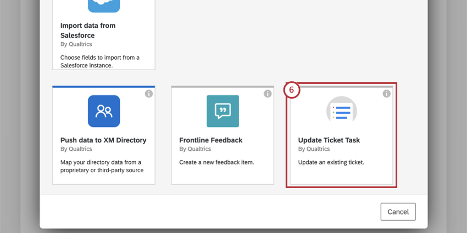 Task window opens; Update Ticket Task is one of the options