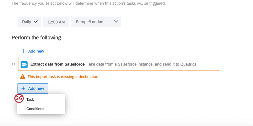 the add button is clicked and task is selected