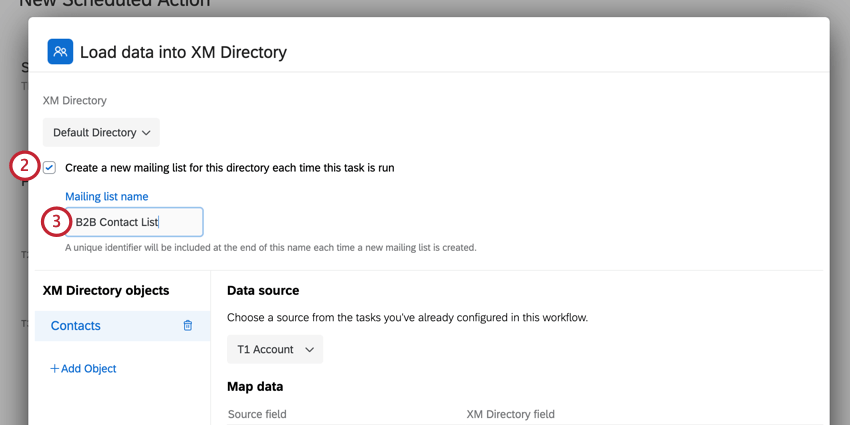 the create a new mailing list option enabled in the load data into xm directory task