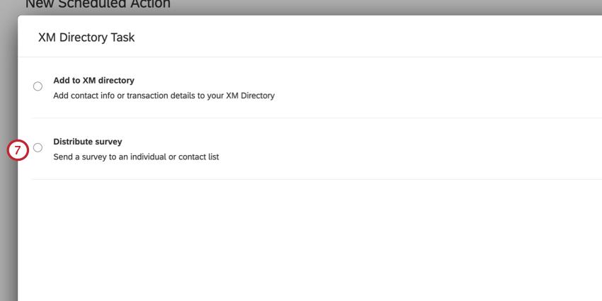 choosing the distribute survey option