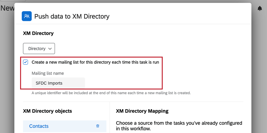 The checkbox for creating a new mailing list when the import runs