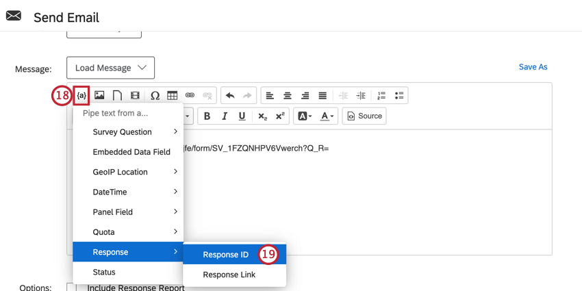 the piped text menu in the message editor is open and the response id option is selected