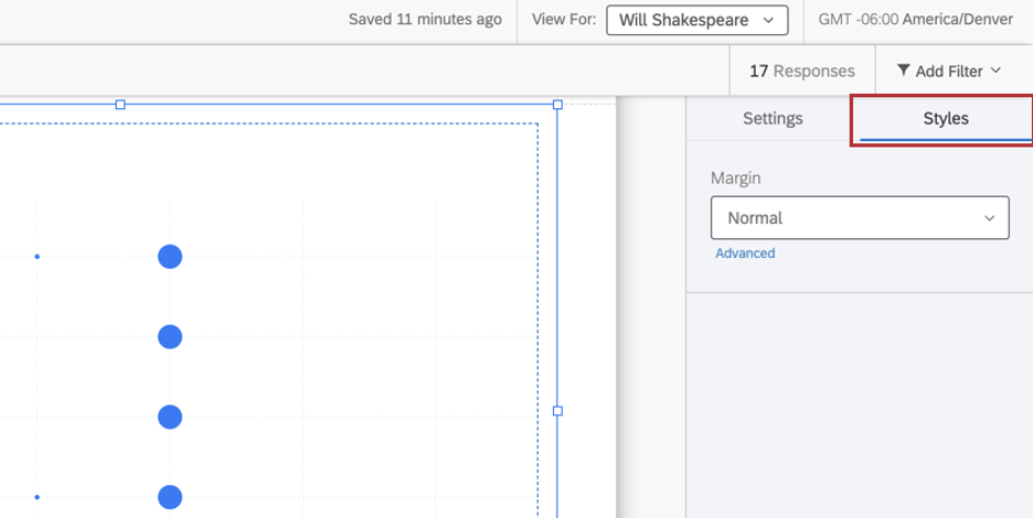 Styles tab of a chart has a margin dropdown