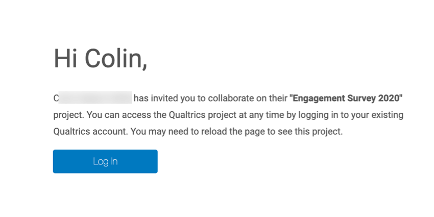 the body of the email that a collaborator receive when a project has been shared with them. a login button is present in the email