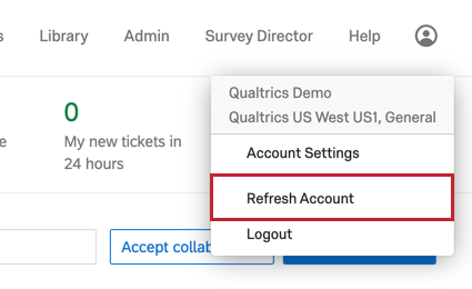 the refresh account option in the account settings menu