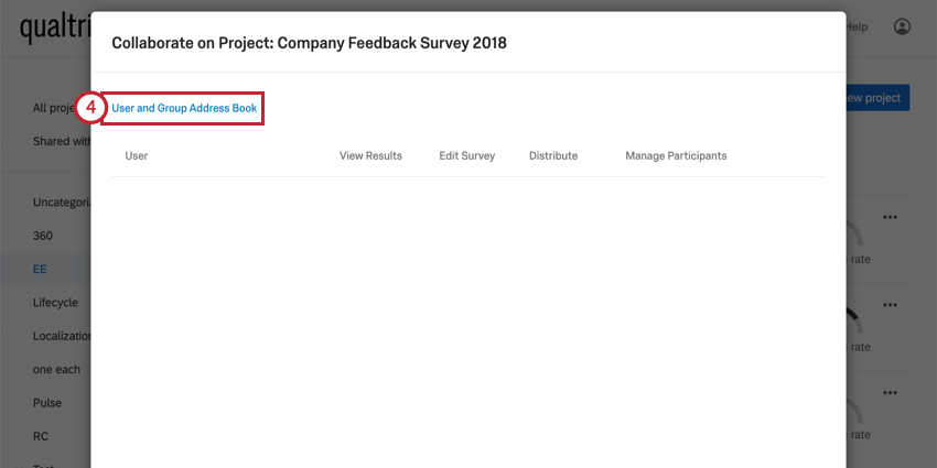 the user and group address book option when sharing a project