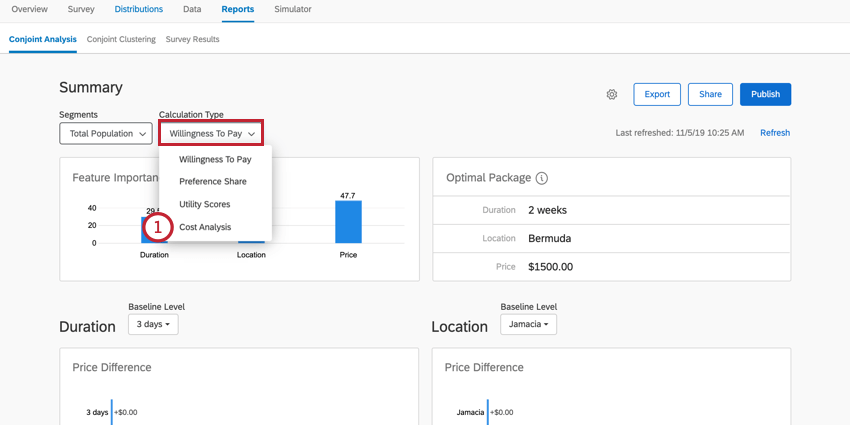 selecting the cost analysis calculation type from the dropdown menu