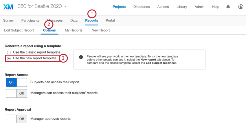 """the """"use the new report template"""" option in report options"""