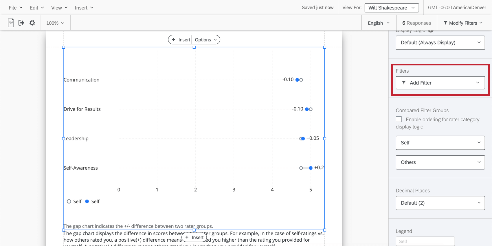 Filter option is highlighted on a specific visualization
