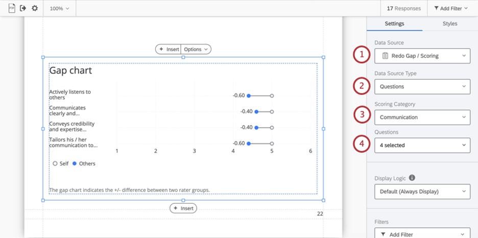 Click on a visualization to open the editing pane. First three dropdown fields regarding data sources are highlighted here