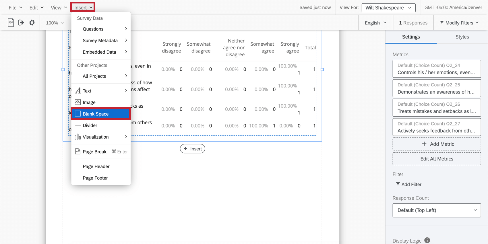 Blank Space option in the Insert dropdown