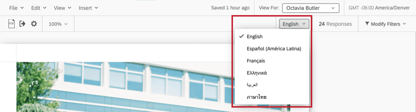 Language dropdown on right side of report toolbar