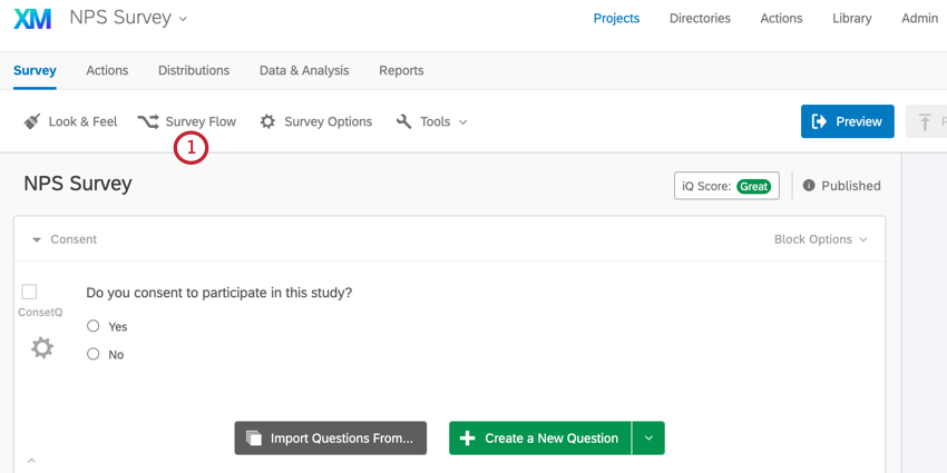 the survey editor. access the survey flow from the survey flow button at the top of the editor