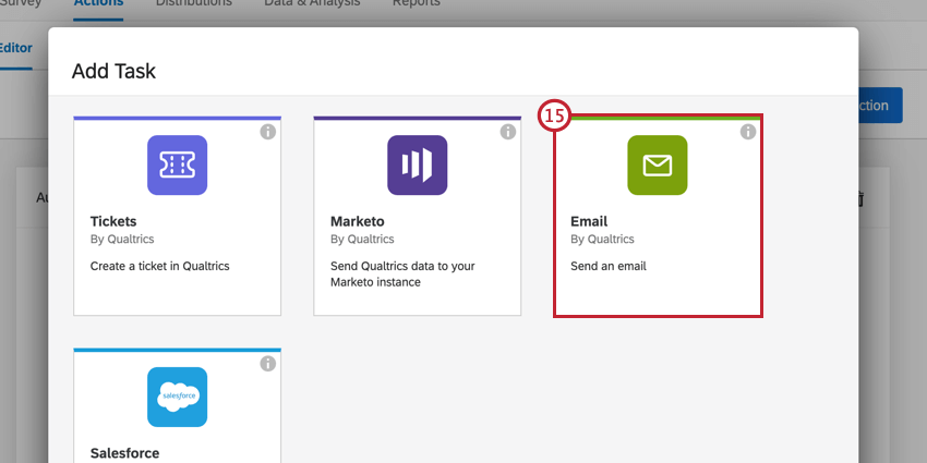 the email task in the task selection window
