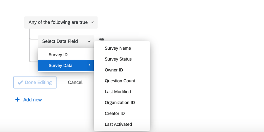 the survey data fields available for conditions