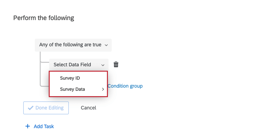 the available fields for basing a condition for a survey definition event