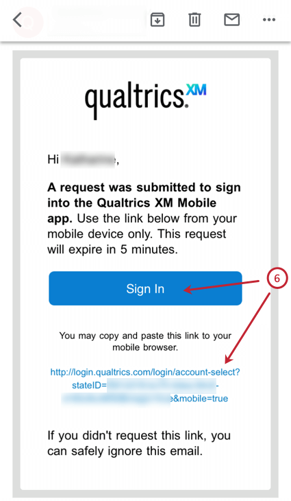 the sign in button in the email