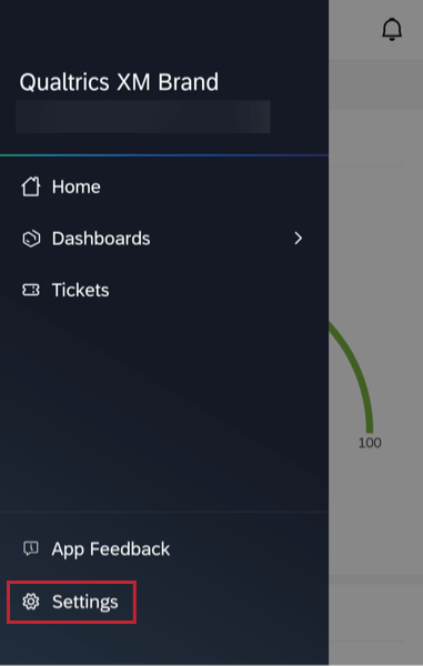 the settings option in the menu