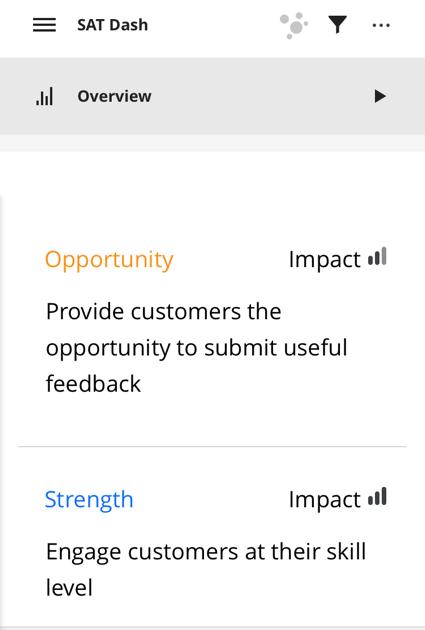 a focus areas widget in the app