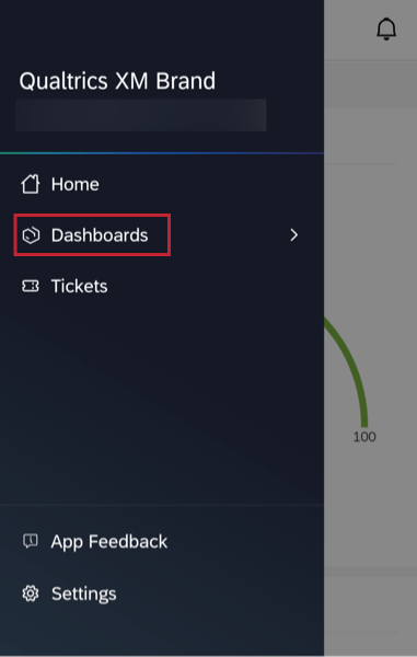 the dashboards option in the app menu