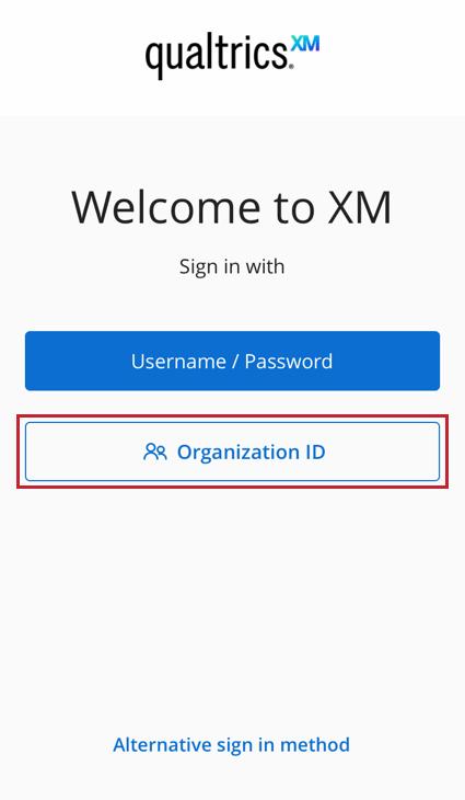 the organization id button on the login screen