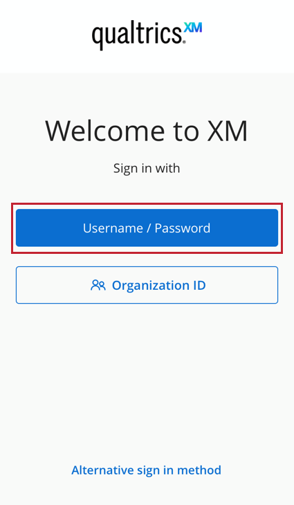 the username / password button on the login screen