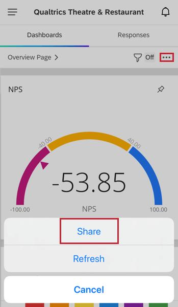 sharing a dashboard via the app