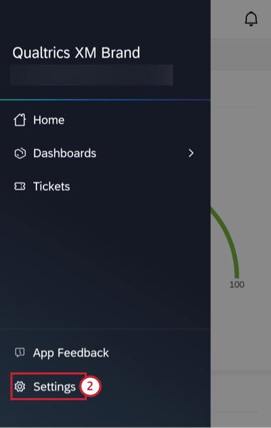 settings in the app menu