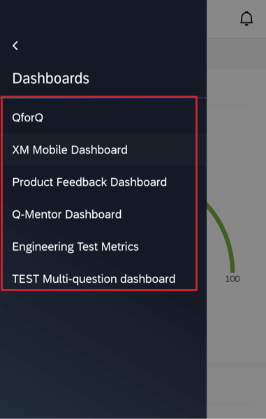 selecting a dashboard to view from the list