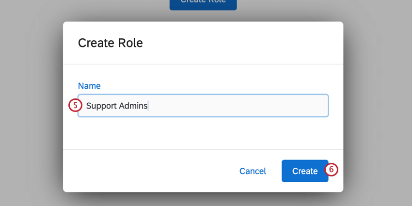 the popup for naming a new role