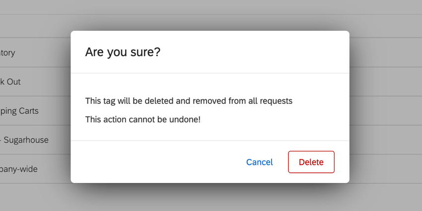 the confirmation window when deleting a tag