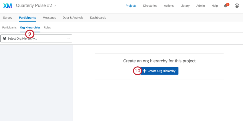 the create org hierarchy button for generating a hierarchy