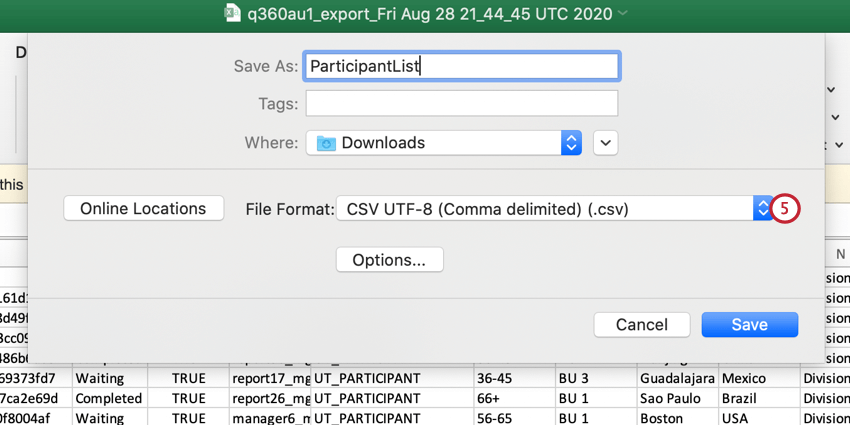 saving the participant list as a UTF-8 CSV