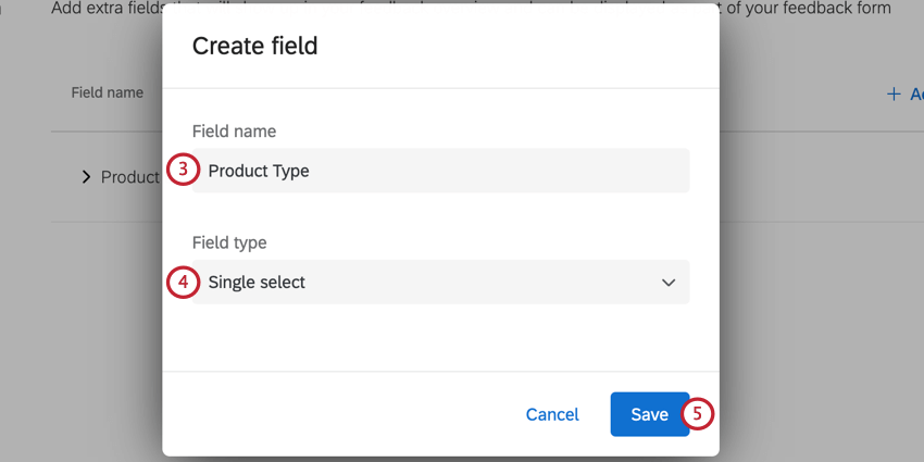 choosing the field name and the field type for a new custom field