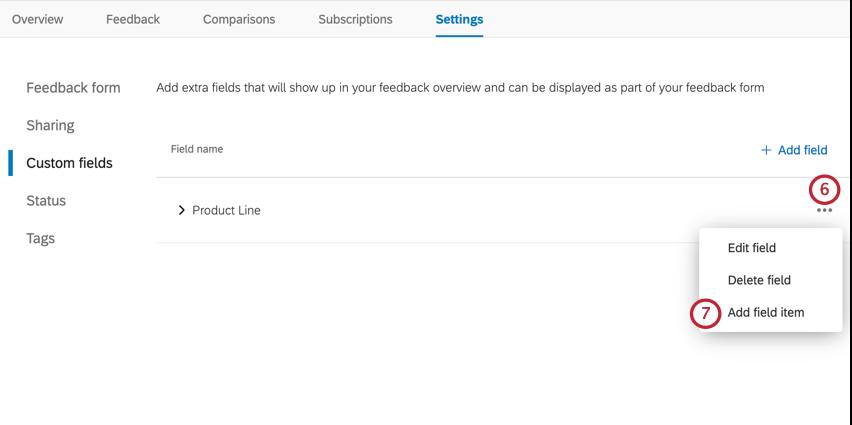selecting add field item