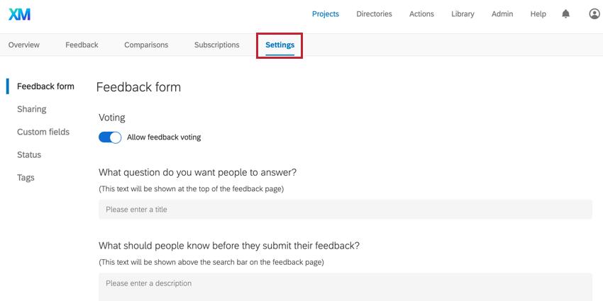 the settings tab