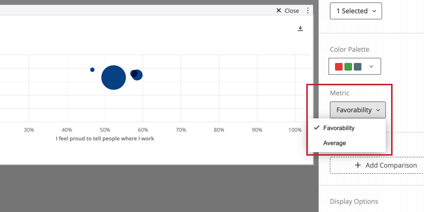 the metric dropdown when editing a bubble chart widget