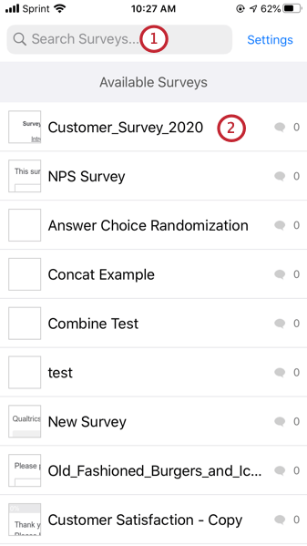 selecting a survey to download from the list of available surveys