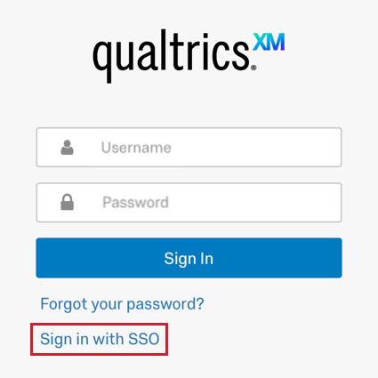 the sign in with SSO link at the bottom of the login screen