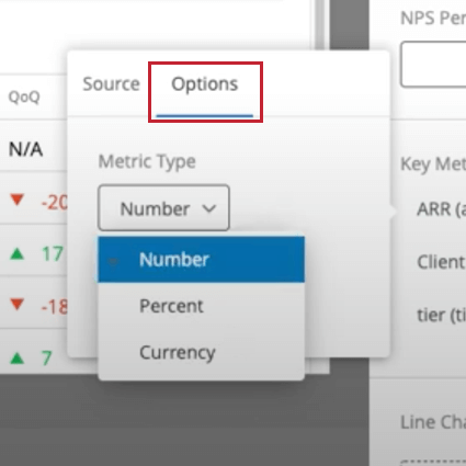 the options tab for changing the metric type