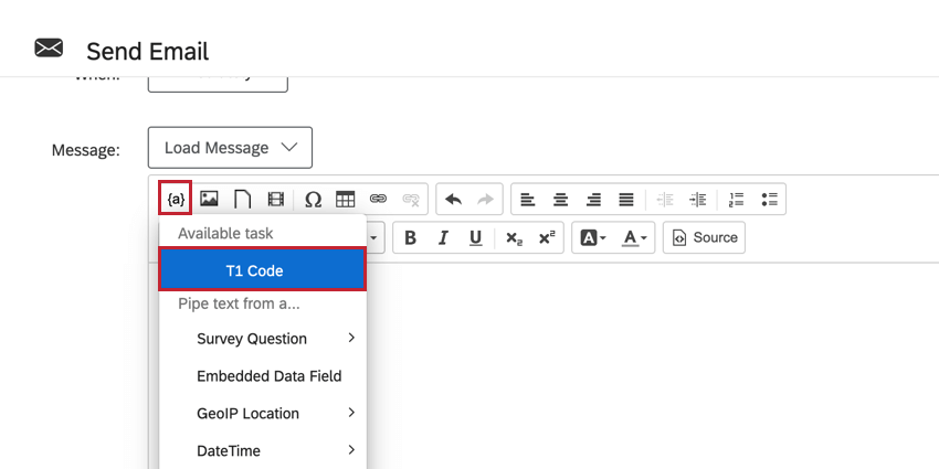 choosing the code task result in the piped text menu of an email task