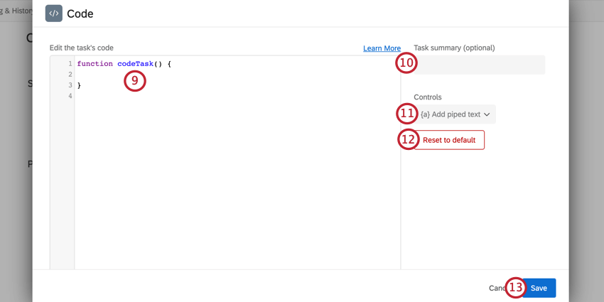 adding code and a summary to the code task