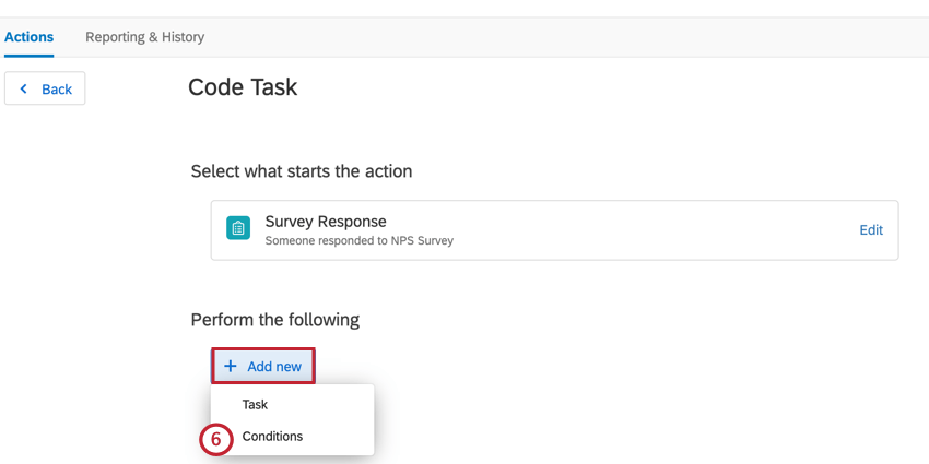 adding conditions to the task